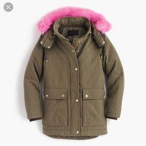 J Crew Collection green parka pink faux fur